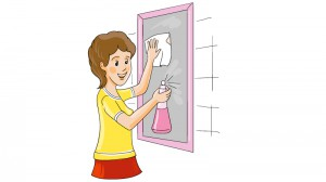 Hausfrau beim Fenster putzen