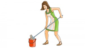 Hausfrau beim Putzen