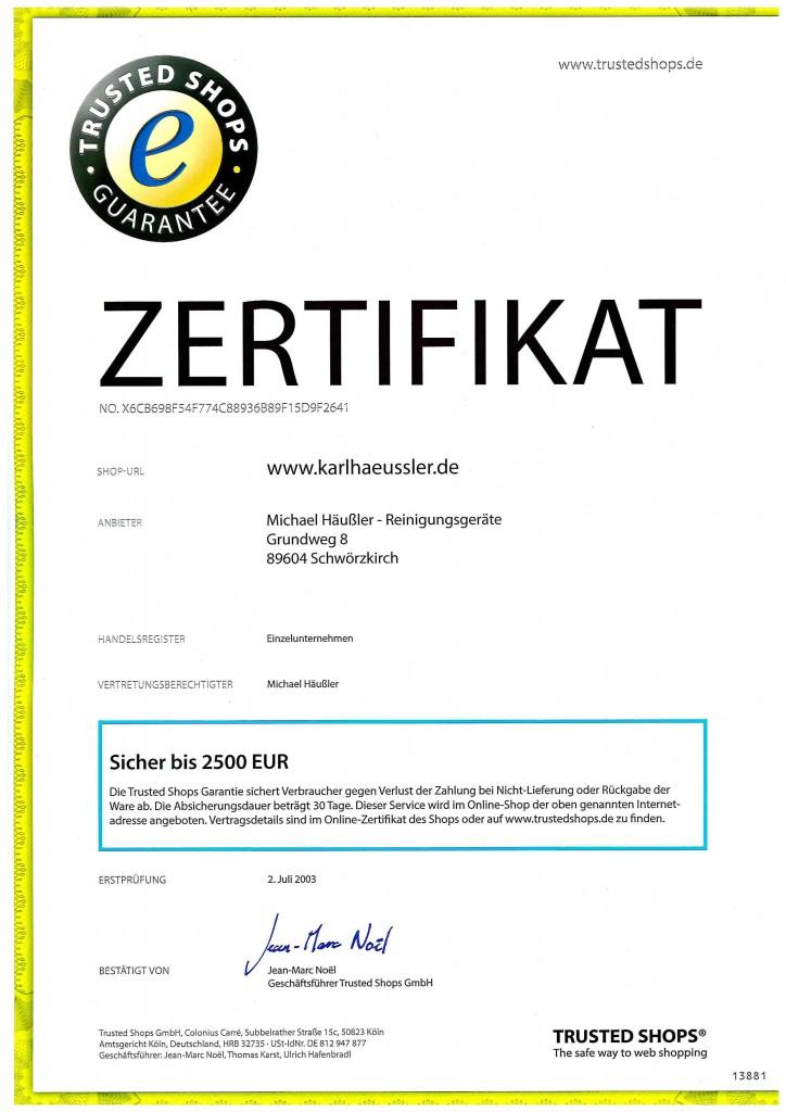 Trusted Shops zertifiziert seit 2003